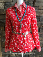 Red Retro Cowboy Print Ladies Western Shirt
