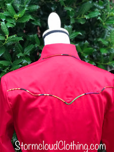 Deep Red Sateen with Serape Piping and Contrast