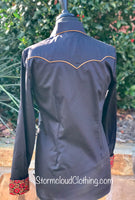 Black Sateen with Bronze Piping