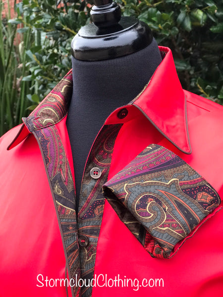 Royal Red with Chocolate Silk Paisley