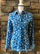 Blue Retro Cowboy Print Ladies Western Shirt