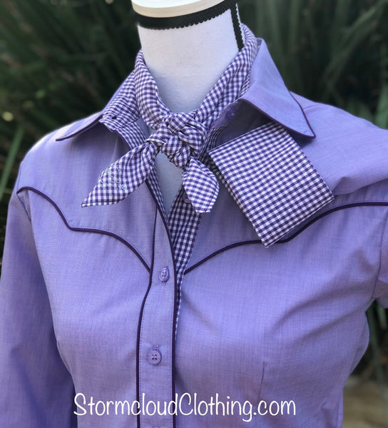 Lavender with Purple Gingham Contrast and Piping Ladies Western Shirt