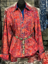 Batik Red and Teal Paisley Ladies Shirt