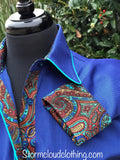 Cobalt Blue Pique Twill with Paisley Silk Contrast