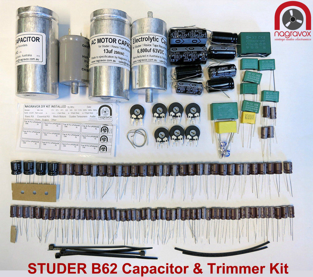 Electronic capacitor and trimmer upgrade overhaul kit for Studer B62