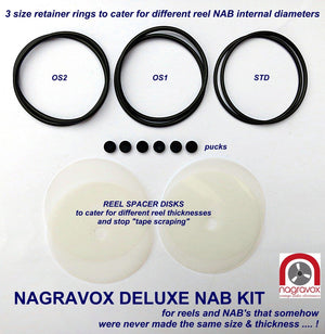 Deluxe NAB hub adapter overhaul kit with reel spacers