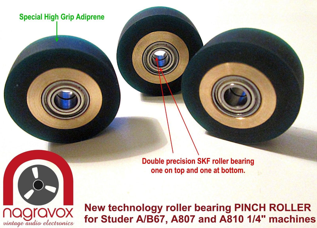 "Deluxe roller bearing Pinch Roller for Studer and Revox 1/4"" recorders"