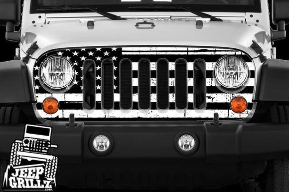 JeepGrillz™ American Flag Black and White
