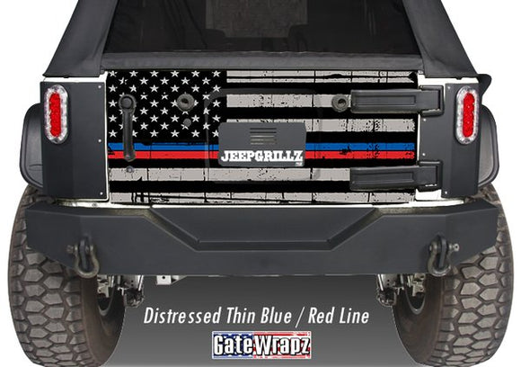 GateWrapz™ American Flag Distressed Thin Blue/Red Line Tailgate Wrap