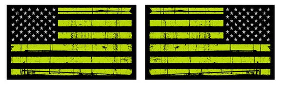 Distressed American Flag-Lime Green
