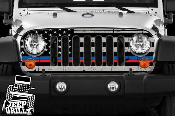 JeepGrillz™ Pre-cut FlashBangz™ American Flag Thin Blue/Red Line