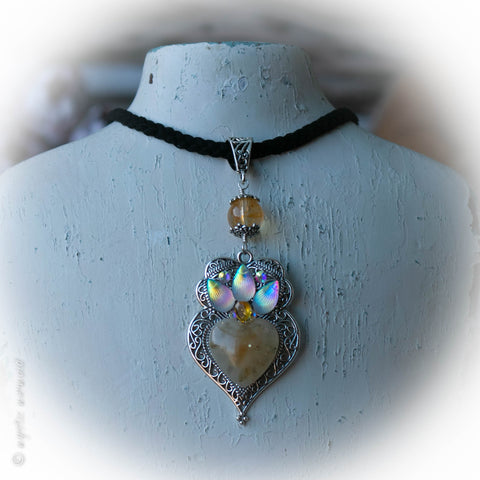 Citrine Heart – Paisley Pendant with microsuede braided necklace