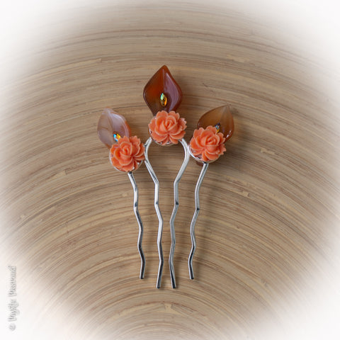 "Zest for Fall – A ""spicy"" Rose and Carnelian Hair Pin"