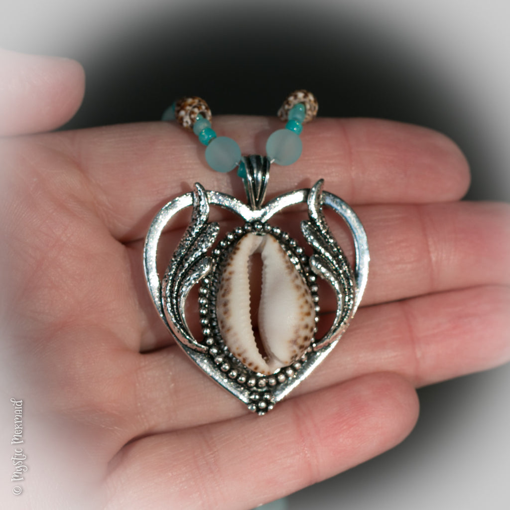 Cowrie Shell and Seaglass Necklace