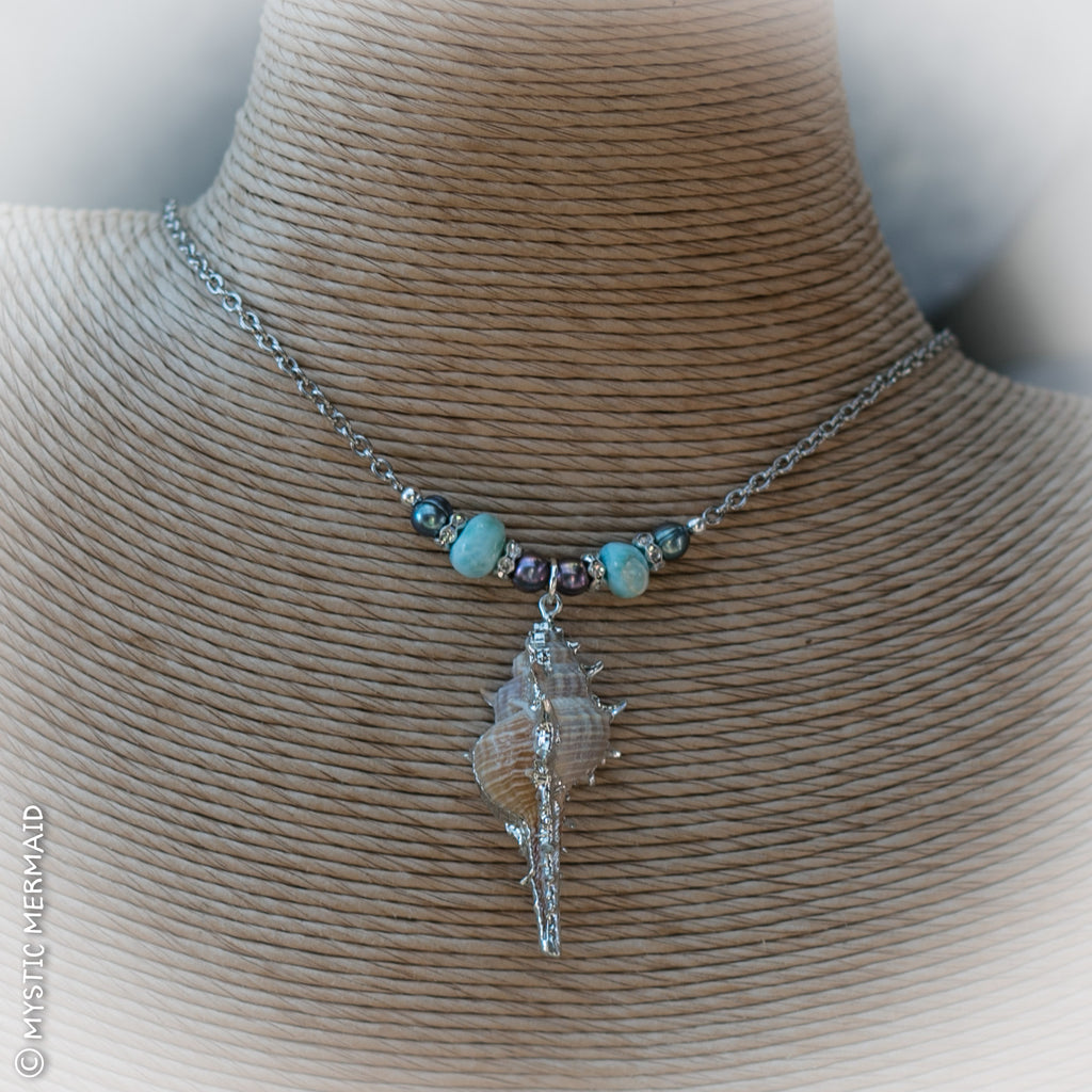 Luscious Larimar and Freshwater Pearl Necklace
