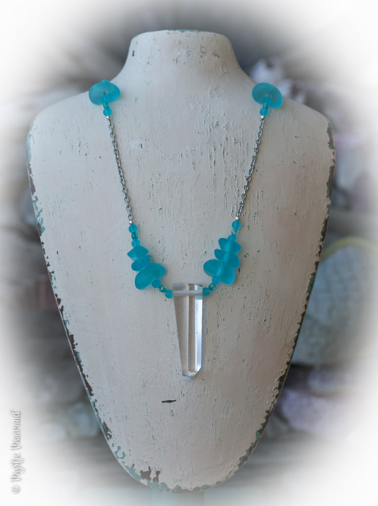 By the Sea, Manifestation Clear Quartz and Sea Glass Necklace
