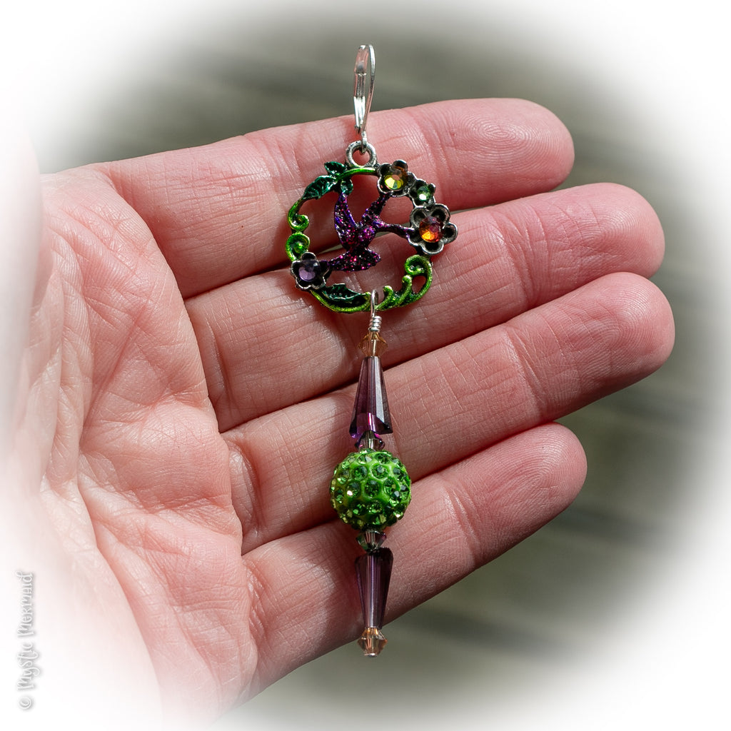 The Sweetest Nectar is Within – Hummingbird Sparkle 925 Sterling Silver Leverback earrings