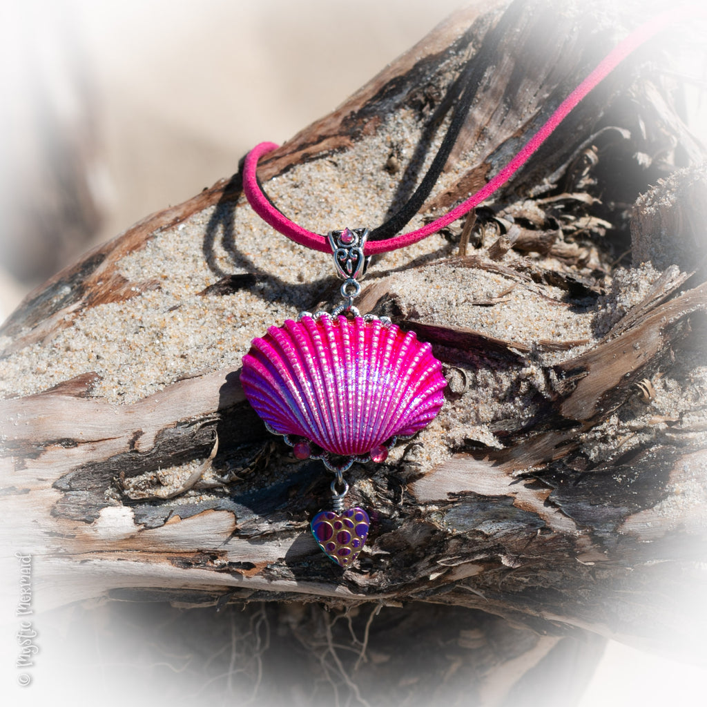 Pink Radiance Shell and Rainbow Hematite Heart Necklace