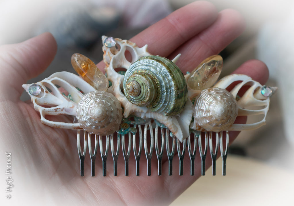Abundance of Ocean Blessings – Citrine Crystal and Sea Shell Hair Comb