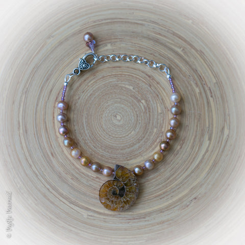 Ammonite and Pearl Bracelet