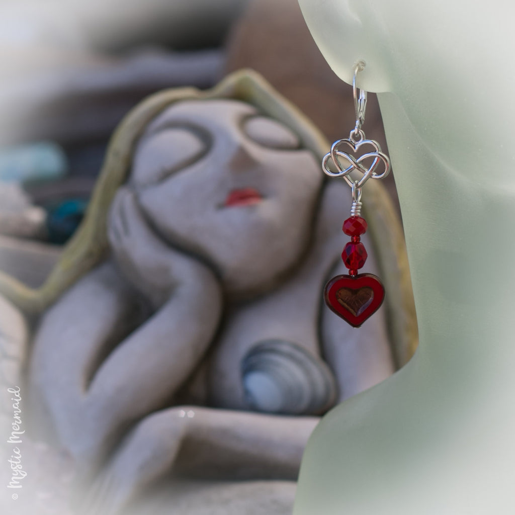 Red Heart Celtic Love Earrings