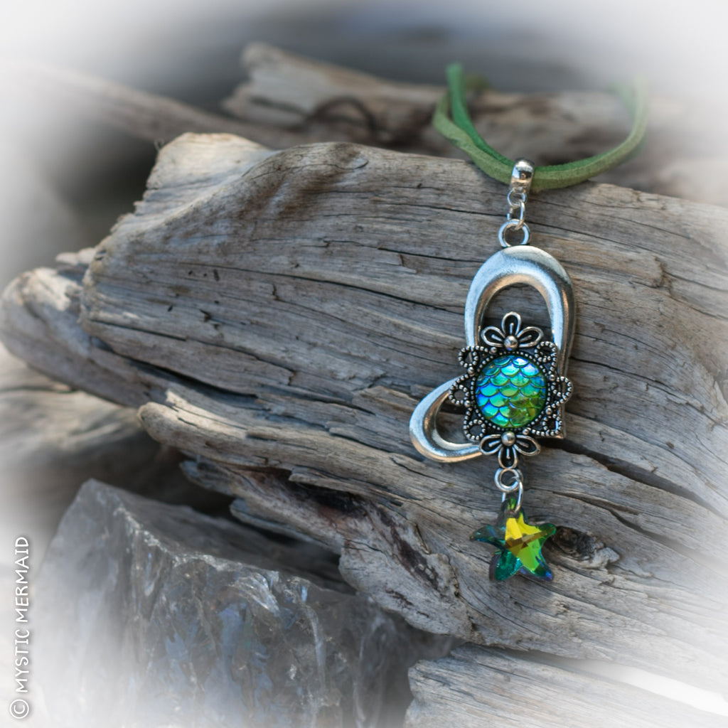 Mermaid at Heart, Chartreuse & Swarovski Rainbow Starfish Necklace