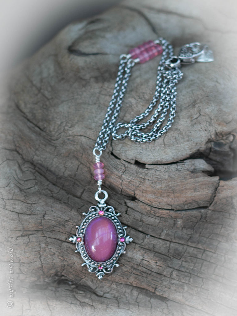 Pink Chalcedony and Sparkle Pink Cabochon Stainless Steel rolo chain Necklace