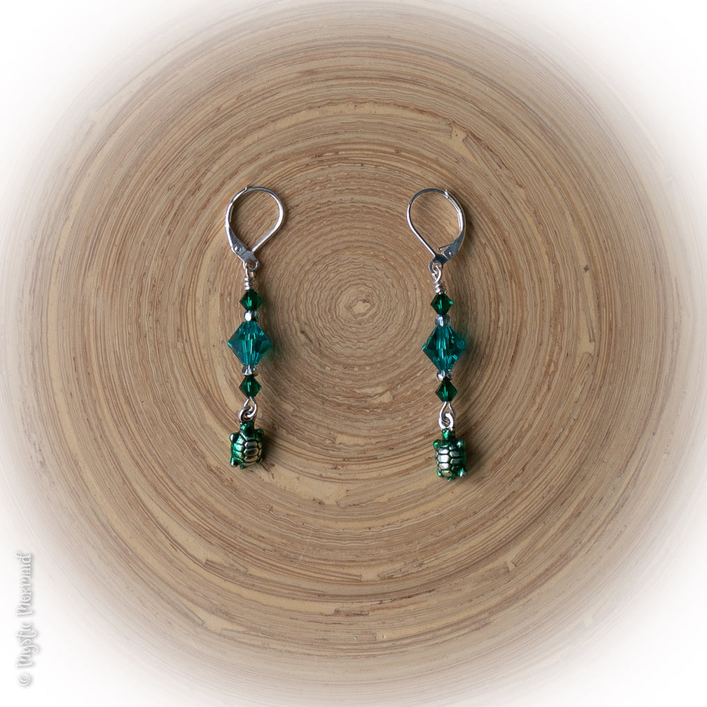 Marine Green Turtle Drop 925 Sterling Silver Leverback earrings