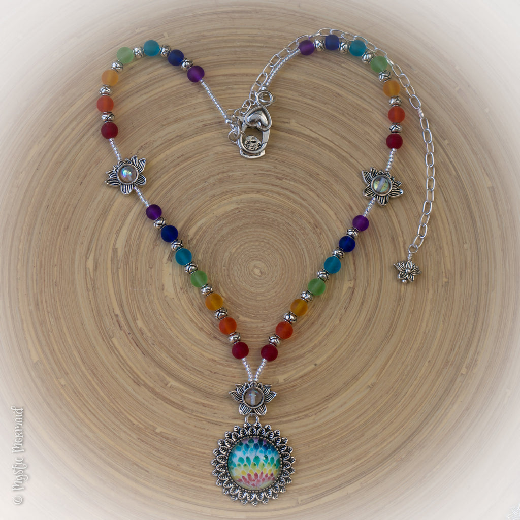 Lotus Flower Chakra Seaglass Rainbow Necklace