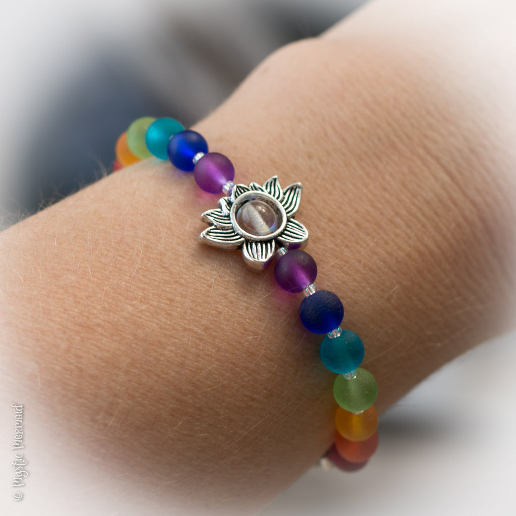 CUSTOM Lotus Flower Rainbow Stretch Bracelet