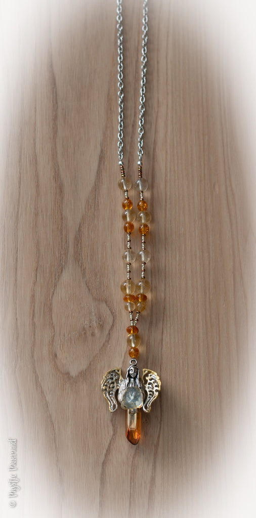 Citrine and Tangerine Aura Point Angel Necklace