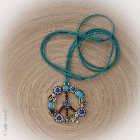 Peace Out Adjustable Turquoise Suede Necklace