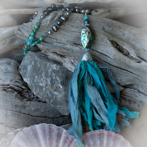 Sea Gypsy 'Beach Walk' Sari Silk and Abalone Shell and Freshwater Pearl Necklace