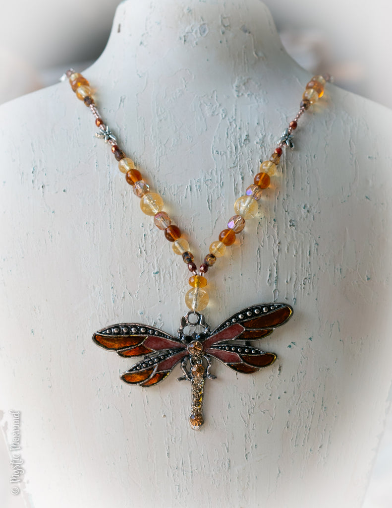 Citrine and Czech crystal enamelled dragonfly necklace