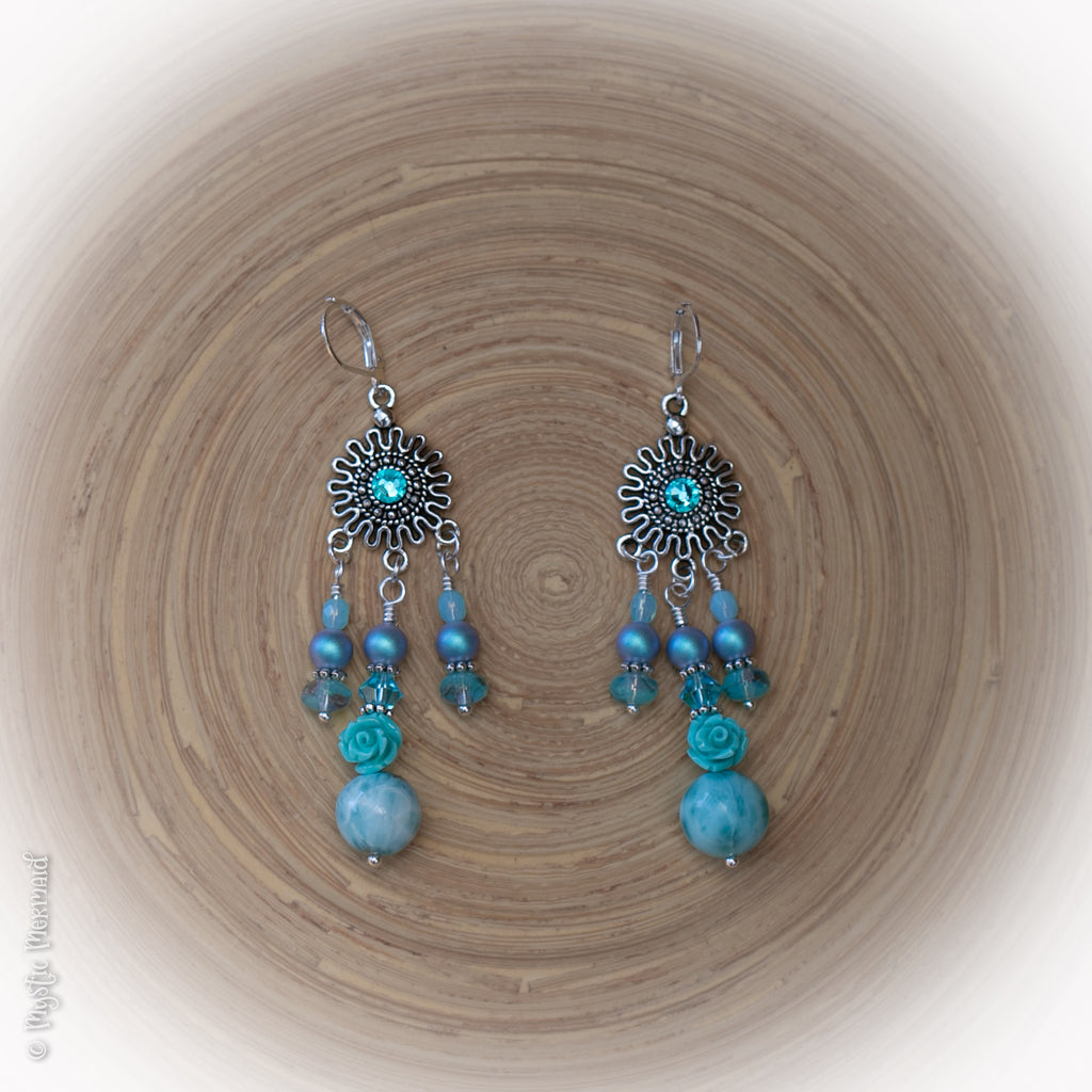 Sea Bliss 925 Sterling Silver Leverback Larimar, Swarovski Pearl and Czech Crystal Earrings
