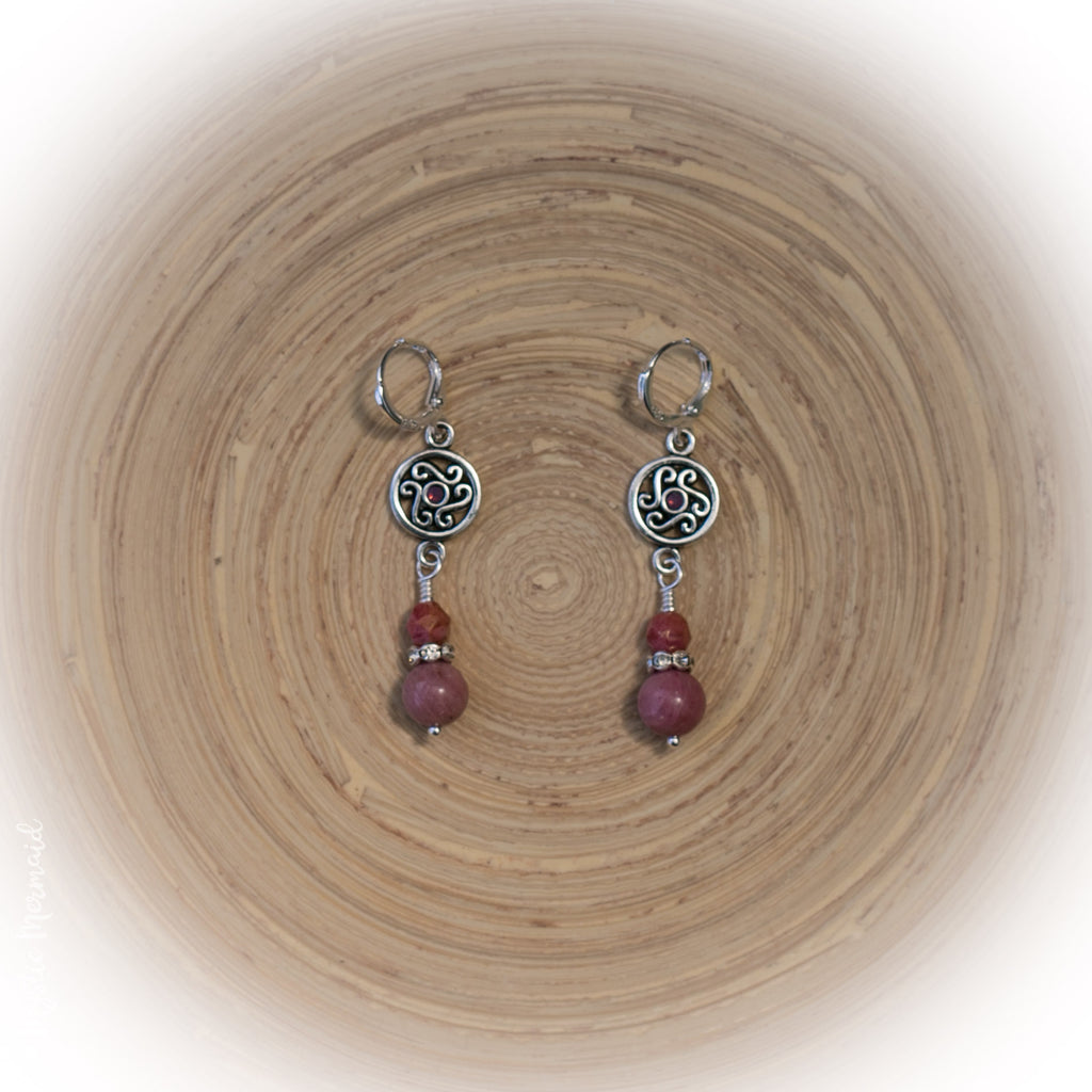 Rhodonite drop 925 Sterling Silver Sleeper Leverback earrings