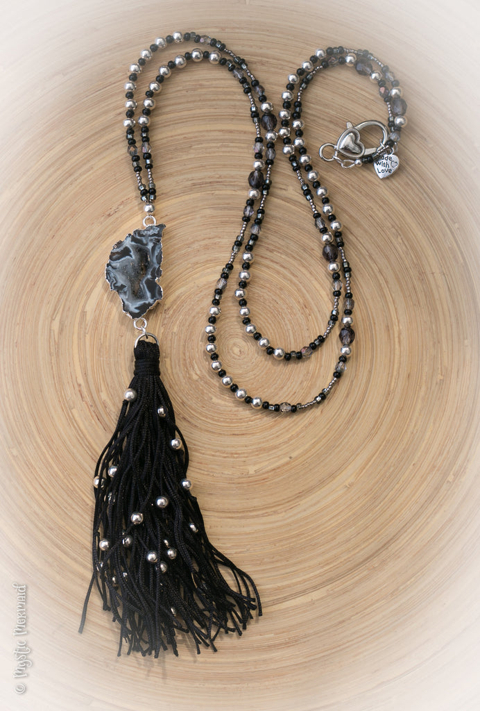 Arabian Knight Agate Geode Slice and Sterling Silver Necklace with Divine Tassel