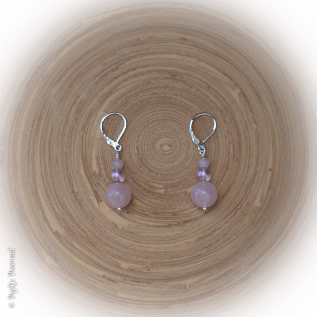 Love the Love – Rose Quartz 925 Sterling Silver Leverback Earrings