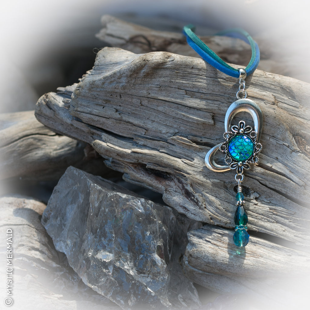 Mermaid at Heart, Aqua Mermaid Scale Cabochon and Czech Crystal Pendant Feature Necklace