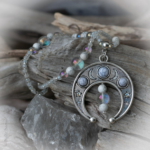 Shoot for the Moon Angel Aura Quartz and White Howlite Necklace