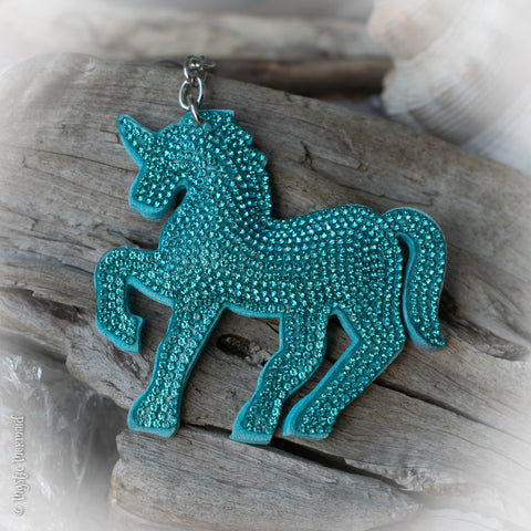 Aqua / Turquoise Unicorn Sparkle Bag Charm