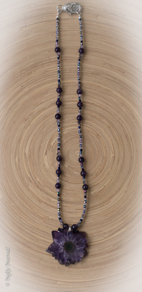 Amethyst Flower and High Grade Amethyst beaded necklace