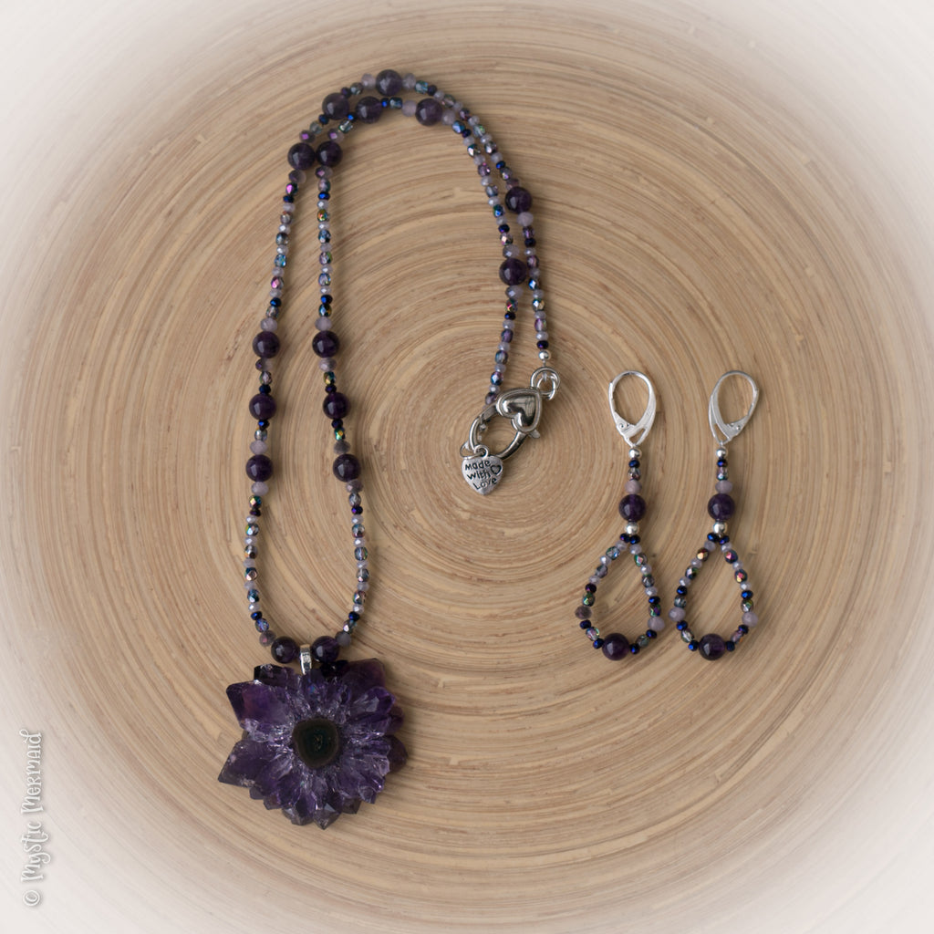 High Grade Amethyst and Czech crystal 925 Sterling Silver Earrings