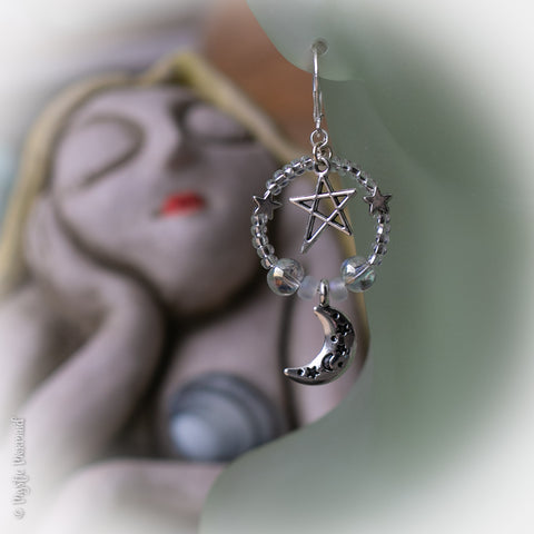 Up Amongst the Stars 925 Sterling Silver Leverback earrings