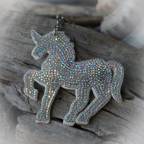 White Unicorn Sparkle Bag Charm