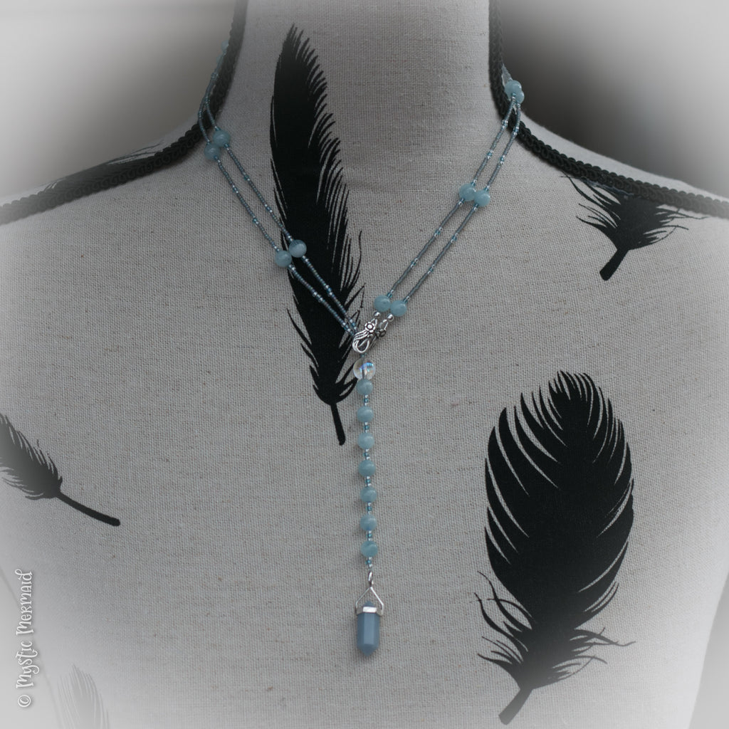 The Angels Came and I heard them Sing... Angelite and Celestite Lariat Necklace