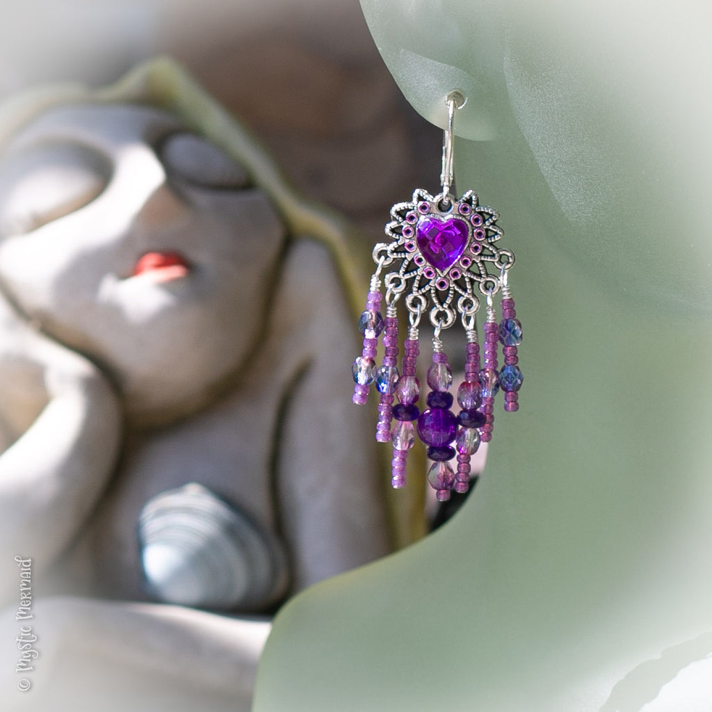 Purple Heart Chandelier Earrings