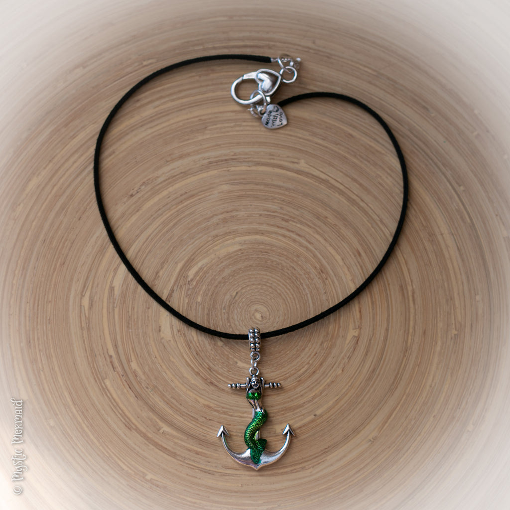 Mermaid Anchor Pendant with Soft Suede Leather Necklace