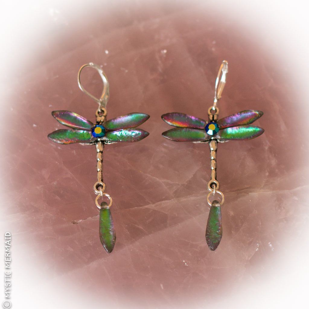 Dragonfly Bliss Czech Crystal Feature Wing 925 Sterling Silver Leverback Earrings