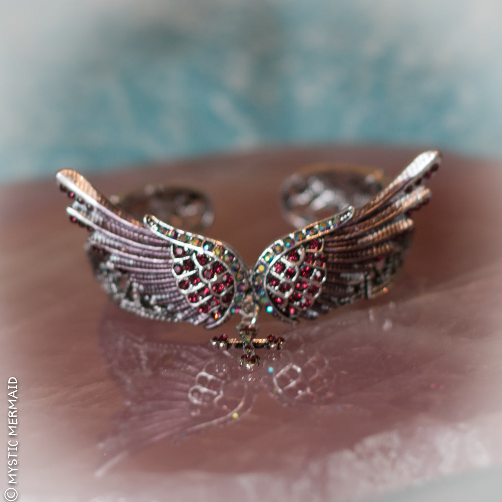 Purple and Pink Angel Wing Cuff Bracelet